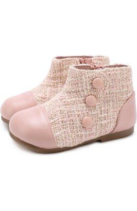 Кожаные ботинки с текстильной отделкой | Фото №1