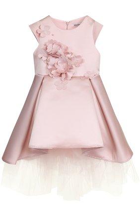 Детское платье ассиметричного кроя с цветочной аппликацией Little Miss Aoki розового цвета   Фото №1