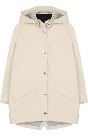 Двойная куртка с капюшоном Gosoaky светло-серого цвета | Фото №1
