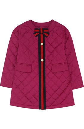 Детского стеганое пальто с контрастной отделкой и бантом GUCCI фиолетового цвета, арт. 456023/XBA60 | Фото 1