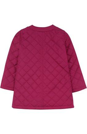 Детского стеганое пальто с контрастной отделкой и бантом GUCCI фиолетового цвета, арт. 456023/XBA60 | Фото 2