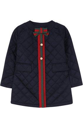 Стеганое пальто с контрастной отделкой и бантом | Фото №1