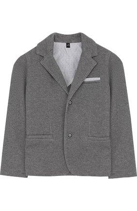 Однобортный пиджак джерси с логотипом бренда | Фото №1