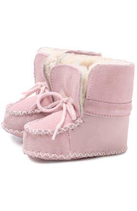 Детского замшевые пинетки на шнуровке POLO RALPH LAUREN розового цвета, арт. P0C0N0/LAYETTE | Фото 1