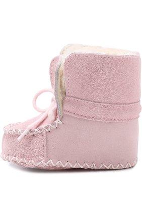 Детского замшевые пинетки на шнуровке POLO RALPH LAUREN розового цвета, арт. P0C0N0/LAYETTE | Фото 2