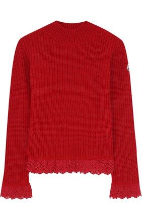 Детский свитер из смеси шерсти и кашемира с кружевной отделкой Moncler Enfant красного цвета   Фото №1