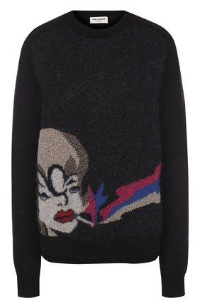 Пуловер с круглым вырезом и принтом