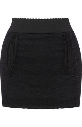 Мини-юбка с широким поясом и шнуровкой | Фото №1