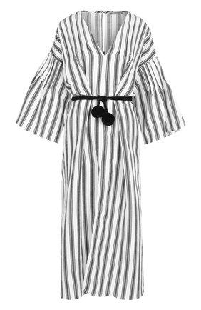 Льняное платье-миди с поясом | Фото №1