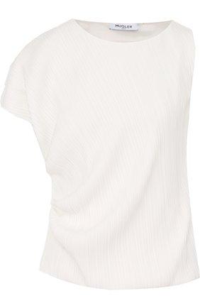 Плиссированный топ асимметричного кроя Mugler белый | Фото №1