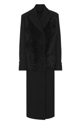 Шерстяное пальто прямого кроя с отделкой из овчины | Фото №1