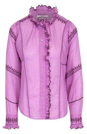 Приталенная хлопковая блуза с контрастной отделкой | Фото №1