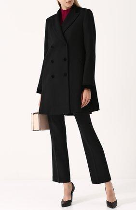 Шерстяное двубортное пальто Fay черного цвета | Фото №1