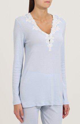 Однотонная пижама с кружевной отделкой Imec светло-голубая | Фото №1
