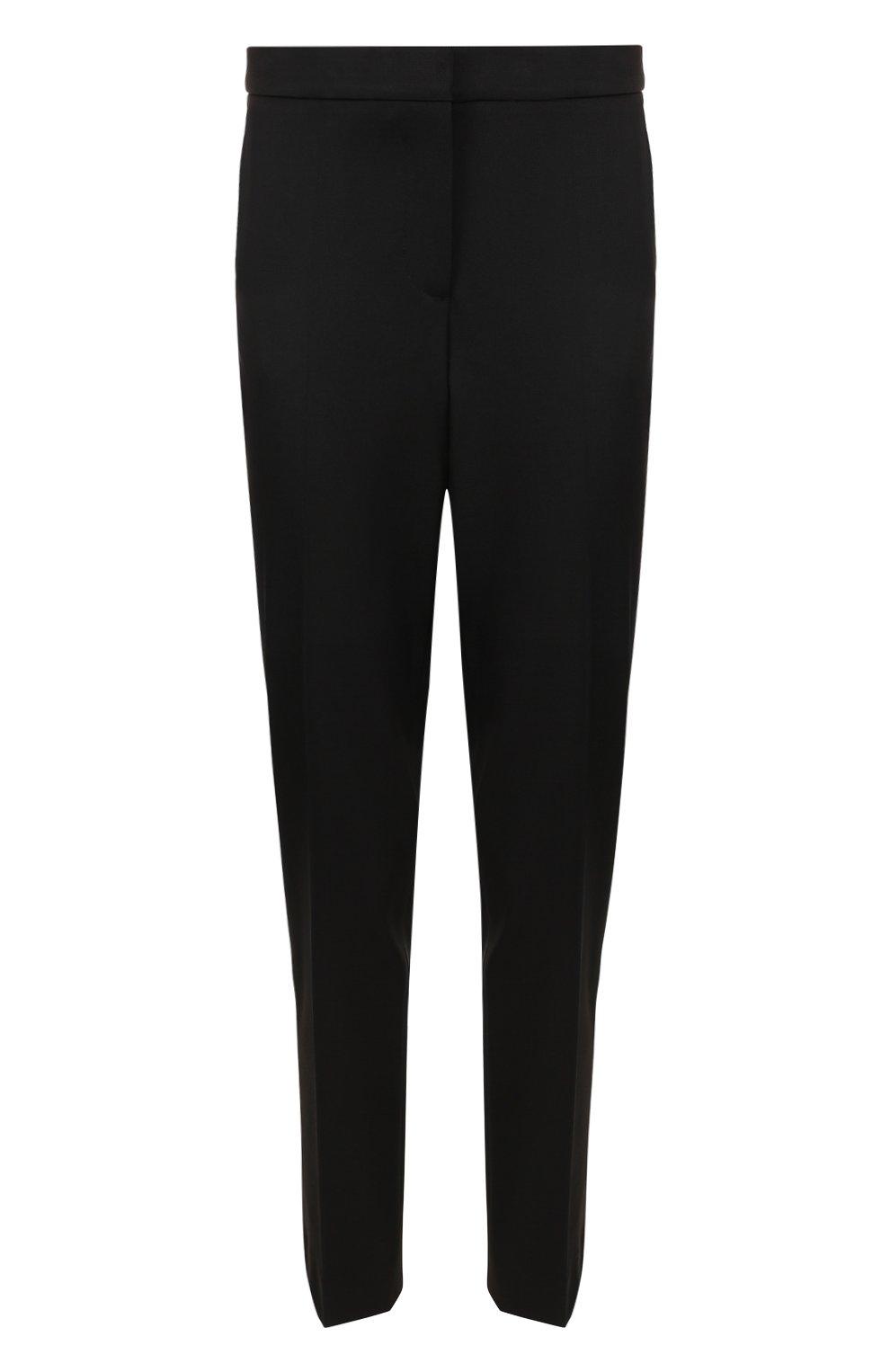 Однотонные шерстяные брюки прямого кроя | Фото №1