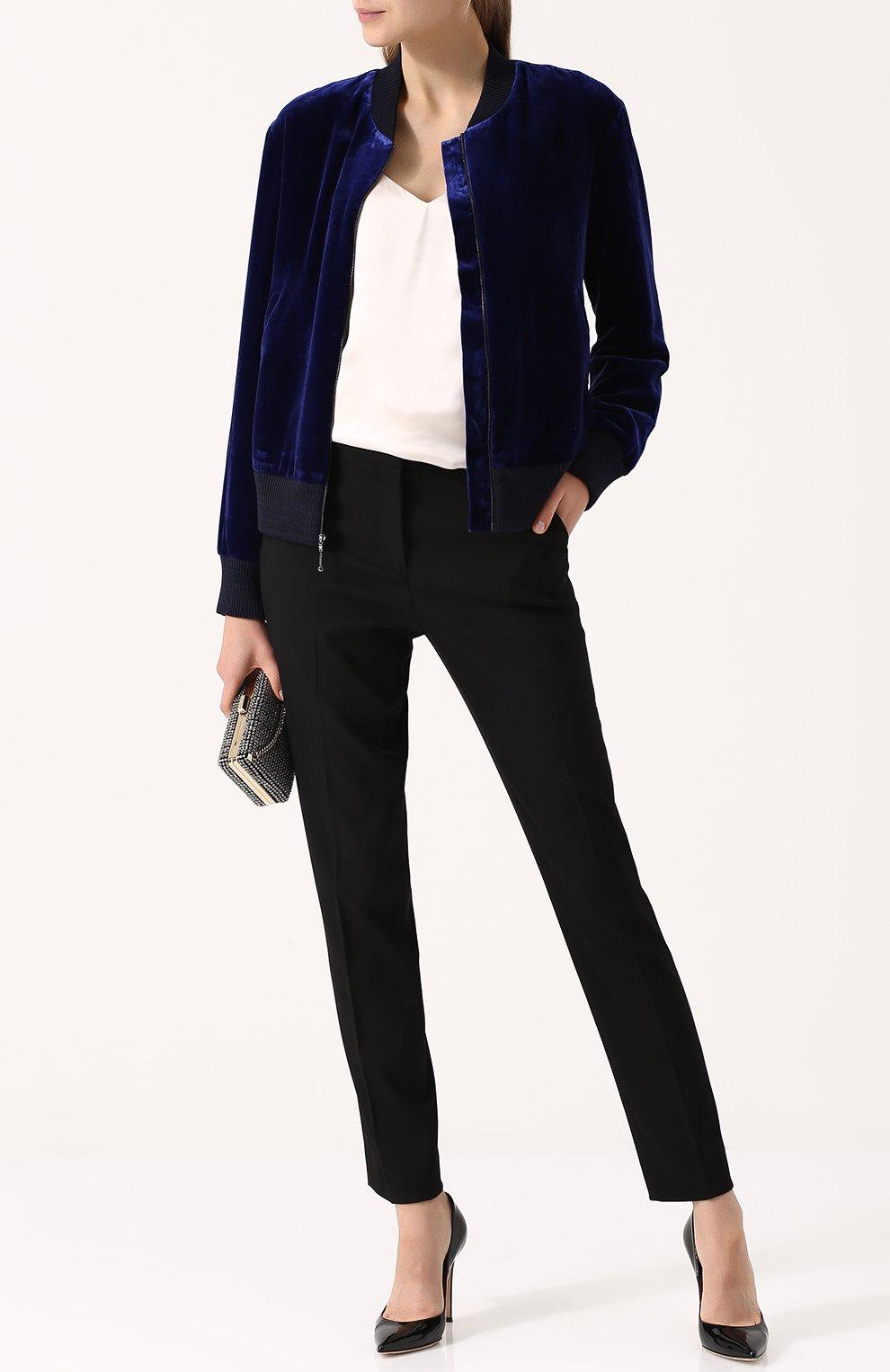 Однотонные шерстяные брюки прямого кроя | Фото №2