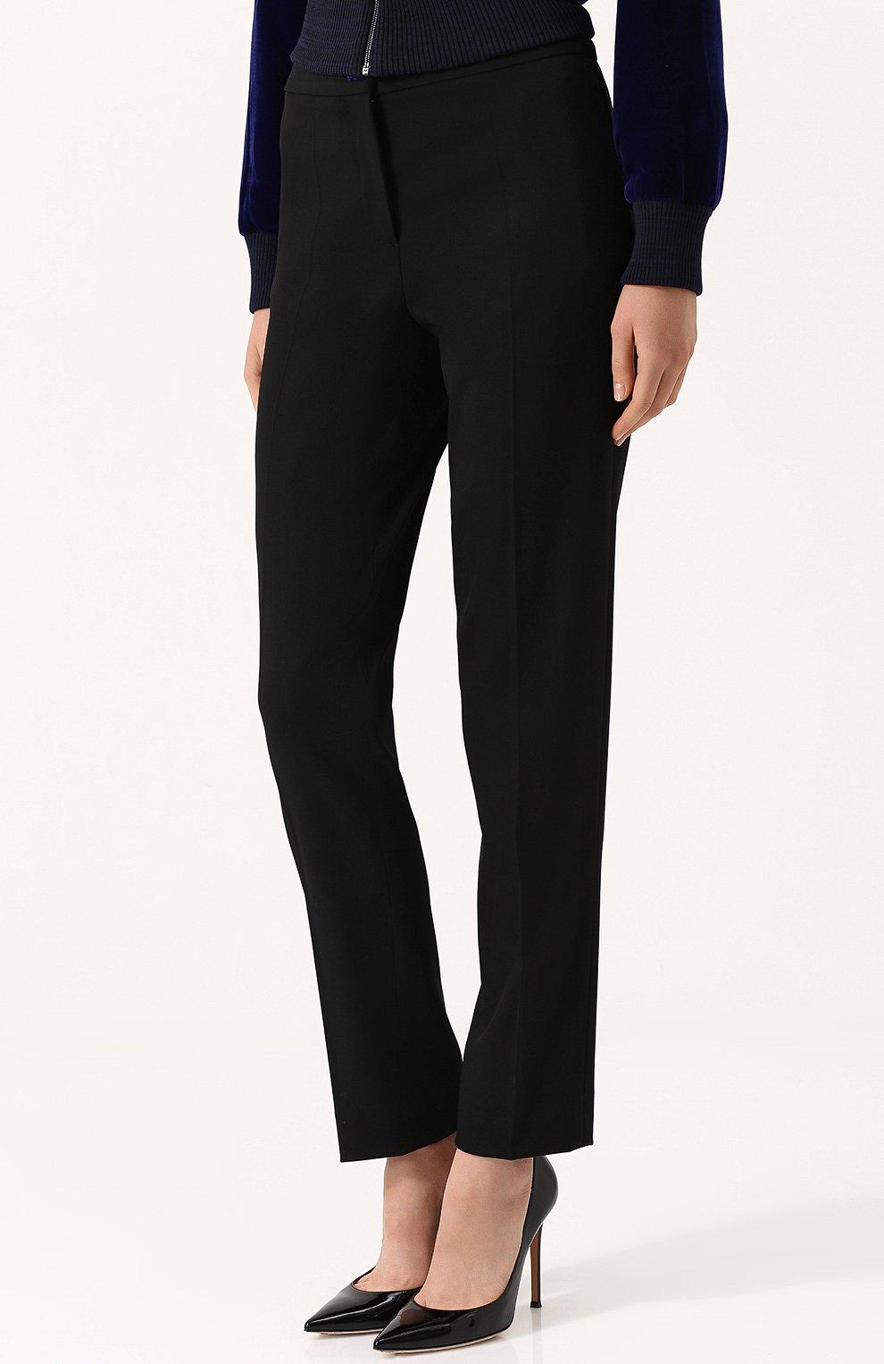 Однотонные шерстяные брюки прямого кроя | Фото №3