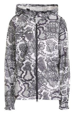 Приталенная куртка с принтом и капюшоном adidas by Stella McCartney черно-белого цвета | Фото №1