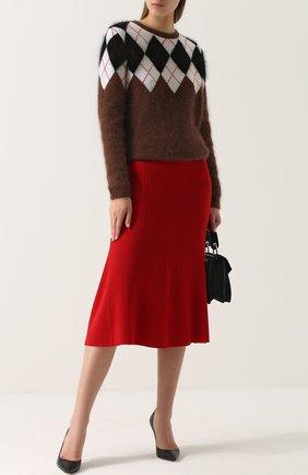 Шерстяной пуловер с круглым вырезом Altuzarra коричневый   Фото №1