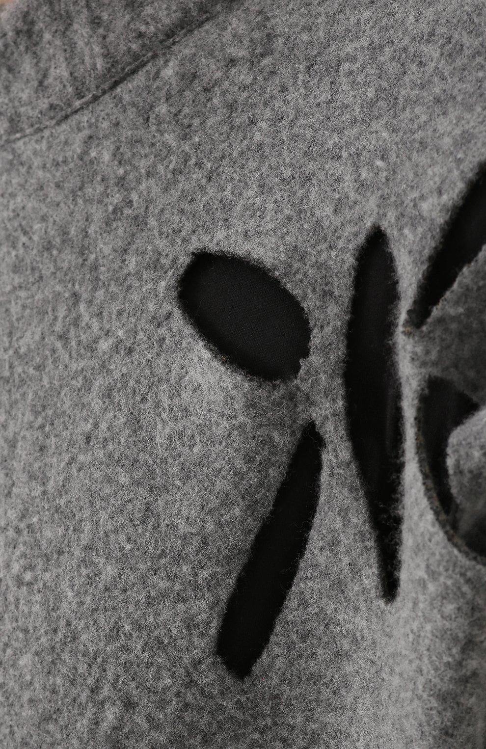 Шерстяной джемпер свободного кроя с перфорацией | Фото №5