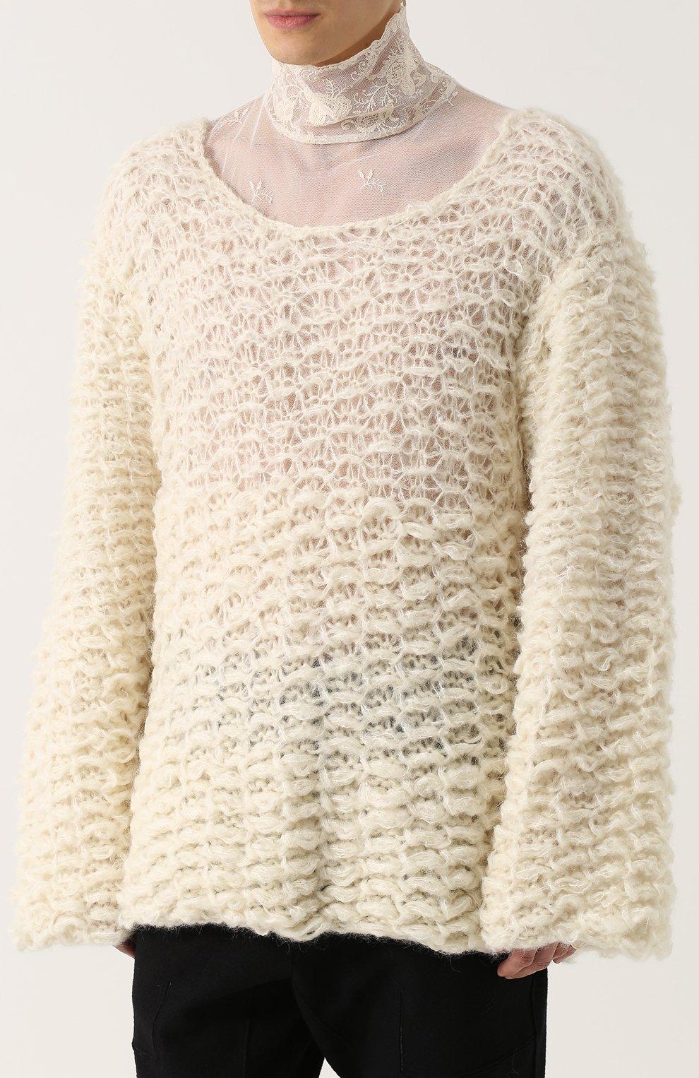 Шерстяной свитер свободного кроя  | Фото №3