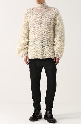 Шерстяной свитер свободного кроя  Ann Demeulemeester белый | Фото №1