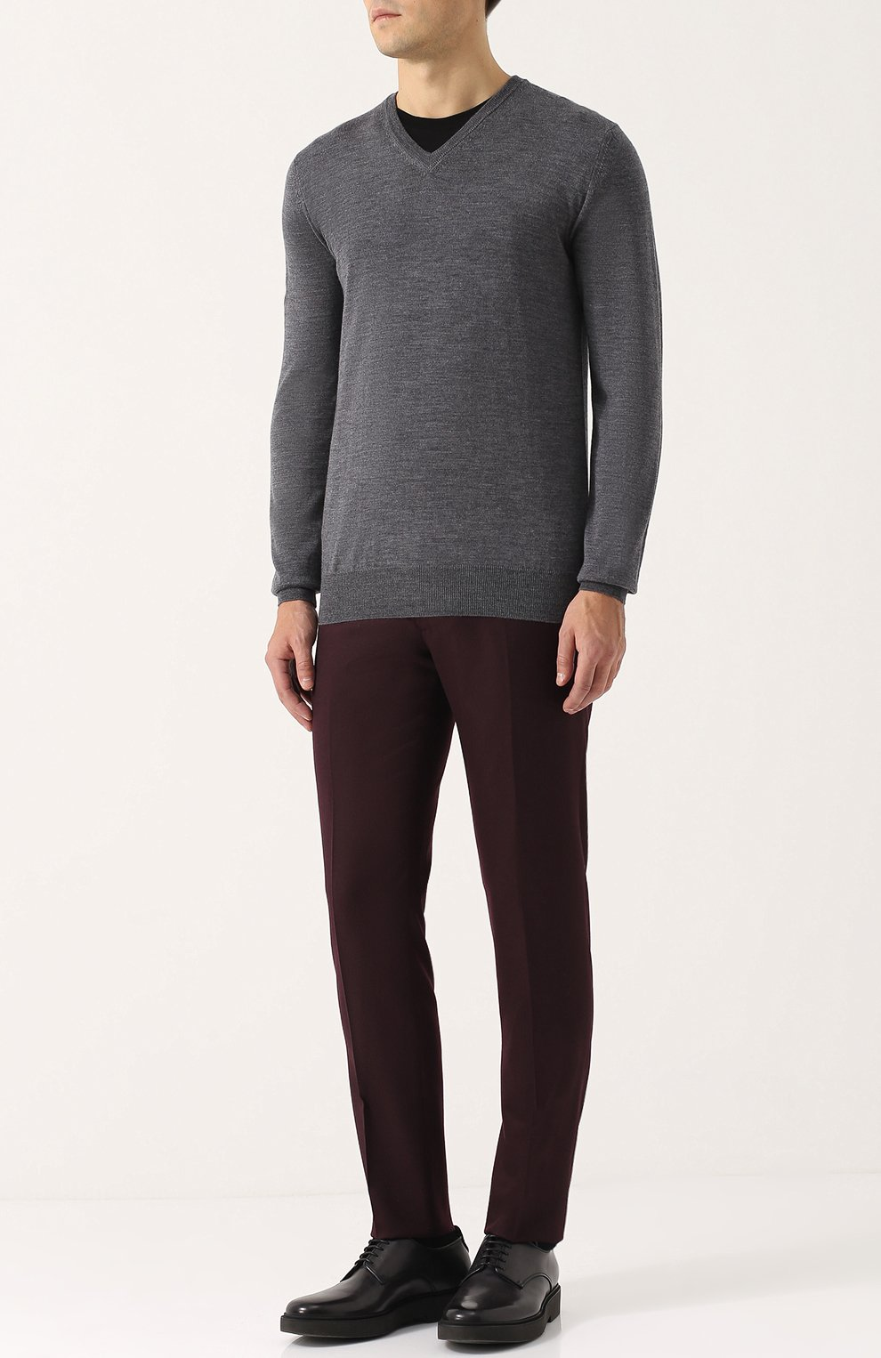 Пуловер из шерсти тонкой вязки   Фото №2