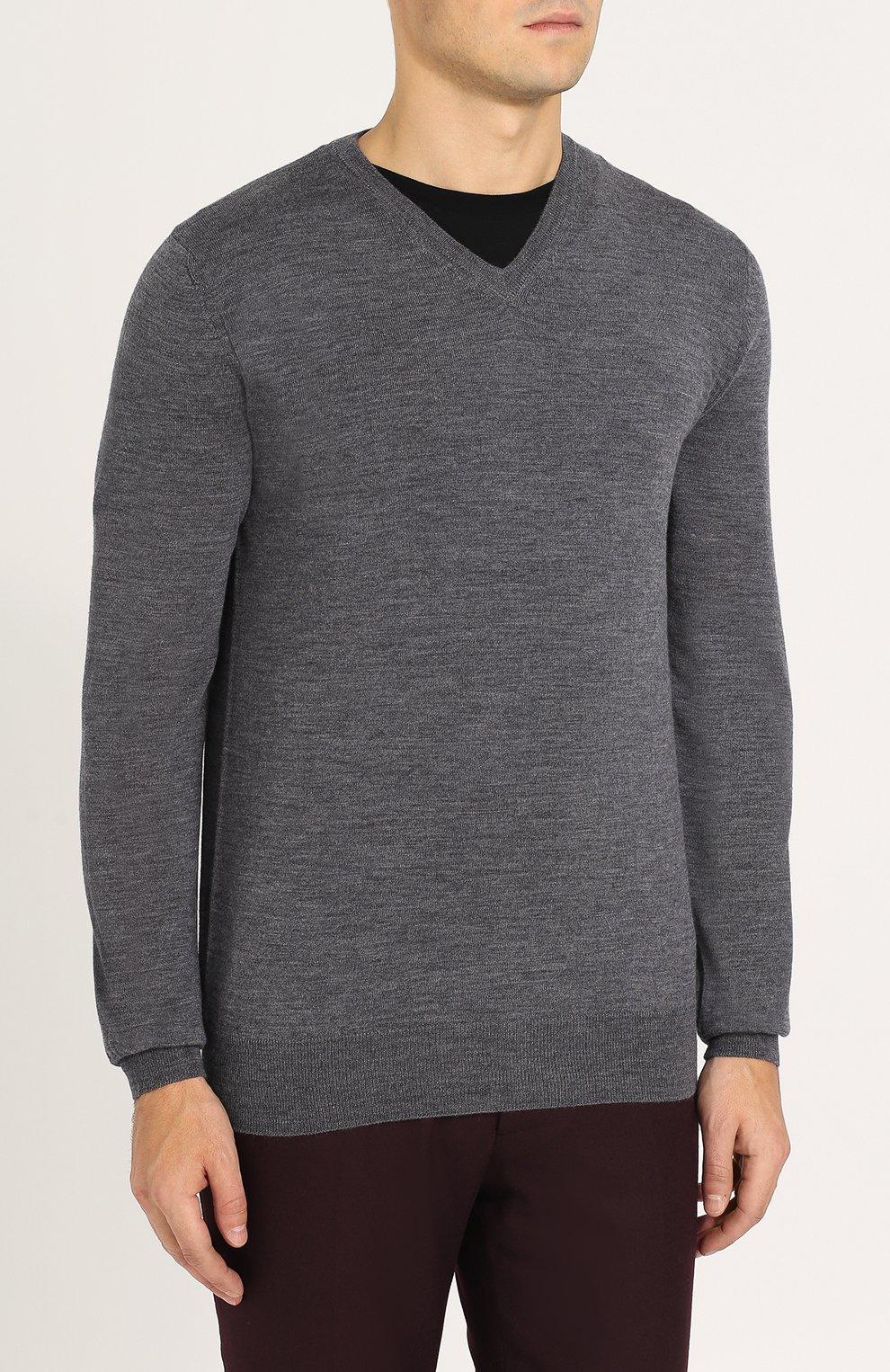 Пуловер из шерсти тонкой вязки   Фото №3