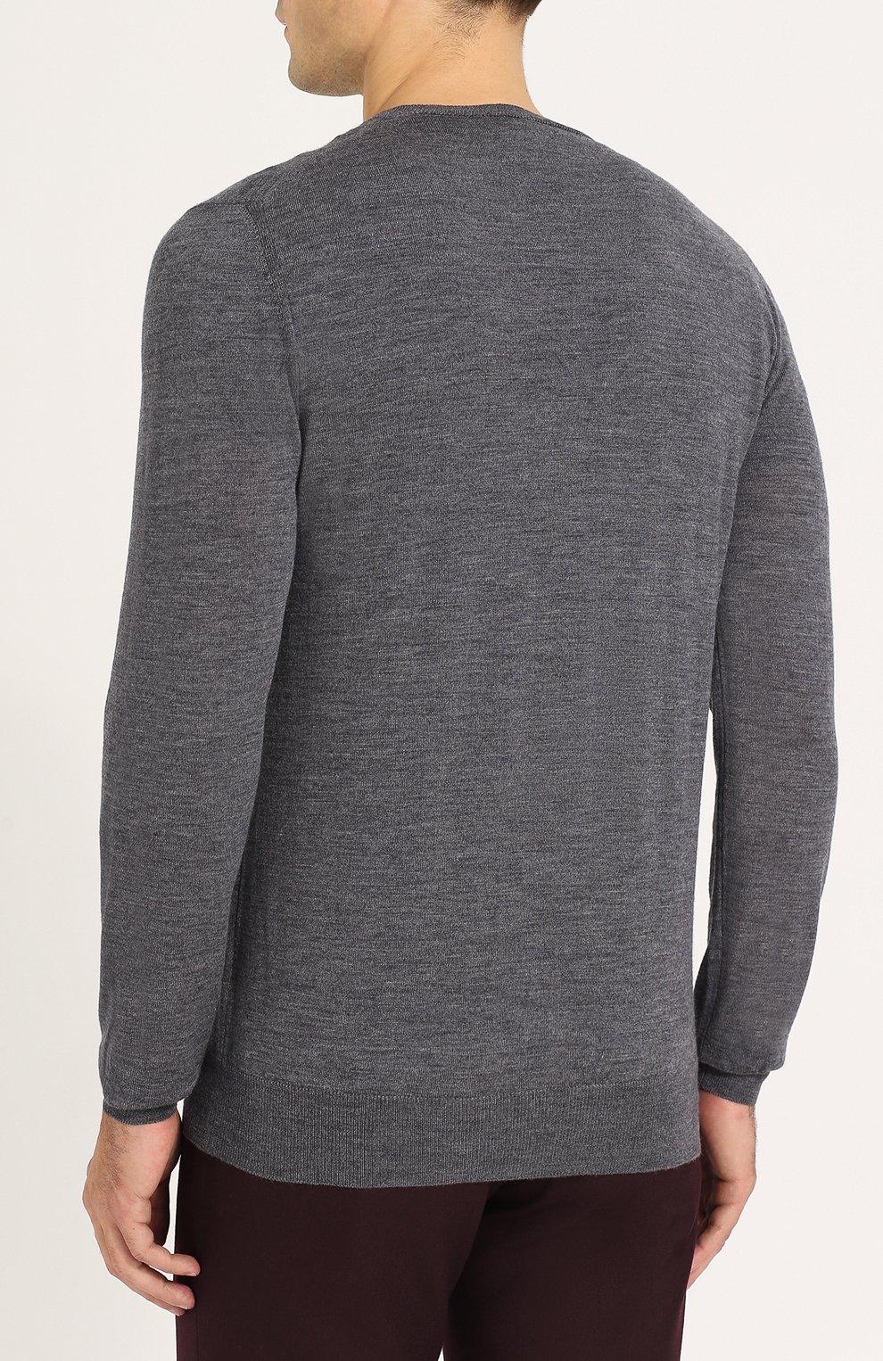 Пуловер из шерсти тонкой вязки   Фото №4