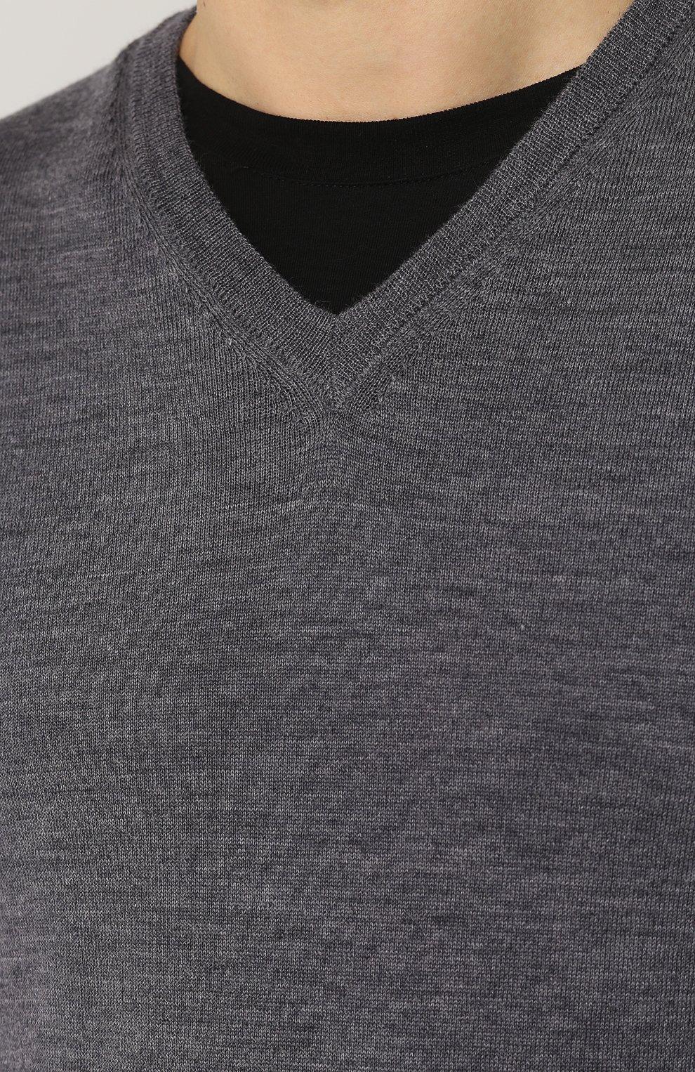 Пуловер из шерсти тонкой вязки   Фото №5