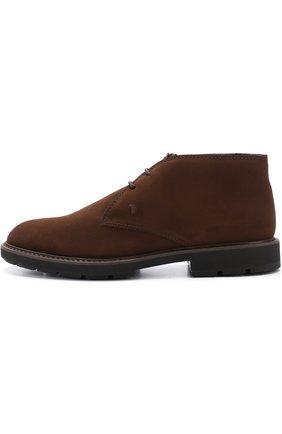 Замшевые ботинки на шнуровке с внутренней меховой отделкой | Фото №3