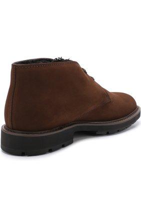 Замшевые ботинки на шнуровке с внутренней меховой отделкой | Фото №4