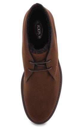 Замшевые ботинки на шнуровке с внутренней меховой отделкой | Фото №5