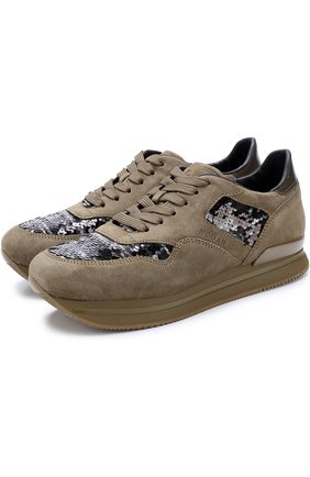 Замшевые кроссовки с вышивкой пайетками | Фото №1