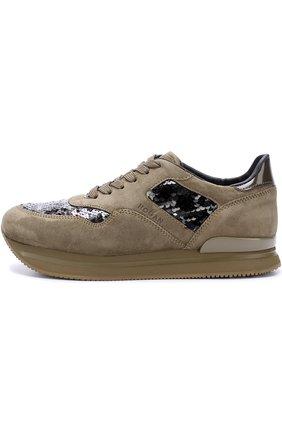 Замшевые кроссовки с вышивкой пайетками | Фото №3