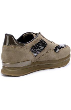 Замшевые кроссовки с вышивкой пайетками | Фото №4