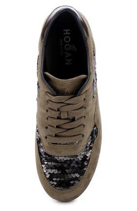 Замшевые кроссовки с вышивкой пайетками | Фото №5