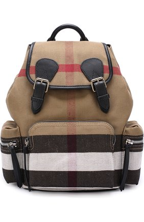 Рюкзак из клетчатого текстиля с кожаной отделкой | Фото №1