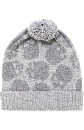 Шерстяная шапка с помпоном  Gemma. H серого цвета | Фото №1