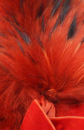 Воротник из меха енота с декоративным бантом Blugirl оранжевый | Фото №1