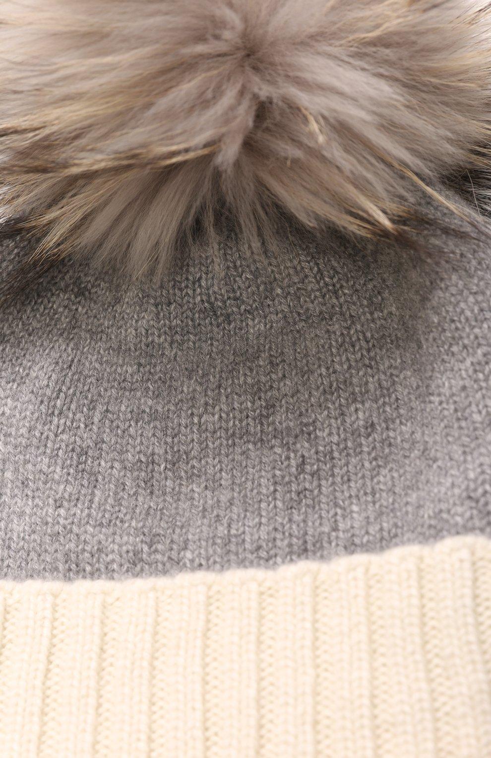 Кашемировая шапка с меховым помпоном | Фото №3