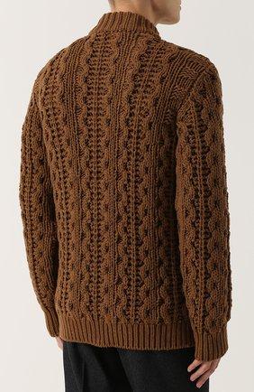 Шерстяной свитер фактурной вязки   Фото №4