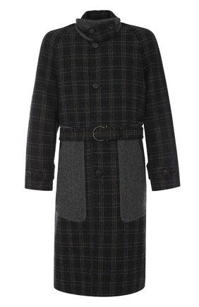 Однобортное шерстяное пальто в клетку с поясом