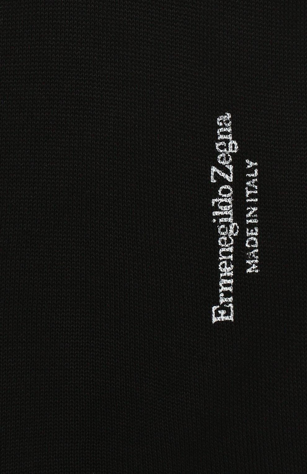 Мужские хлопковые гольфы ERMENEGILDO ZEGNA черного цвета, арт. N4V100020 | Фото 2