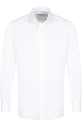 Мужская хлопковая сорочка с воротником акула ZILLI белого цвета, арт. 6010067001 | Фото 1