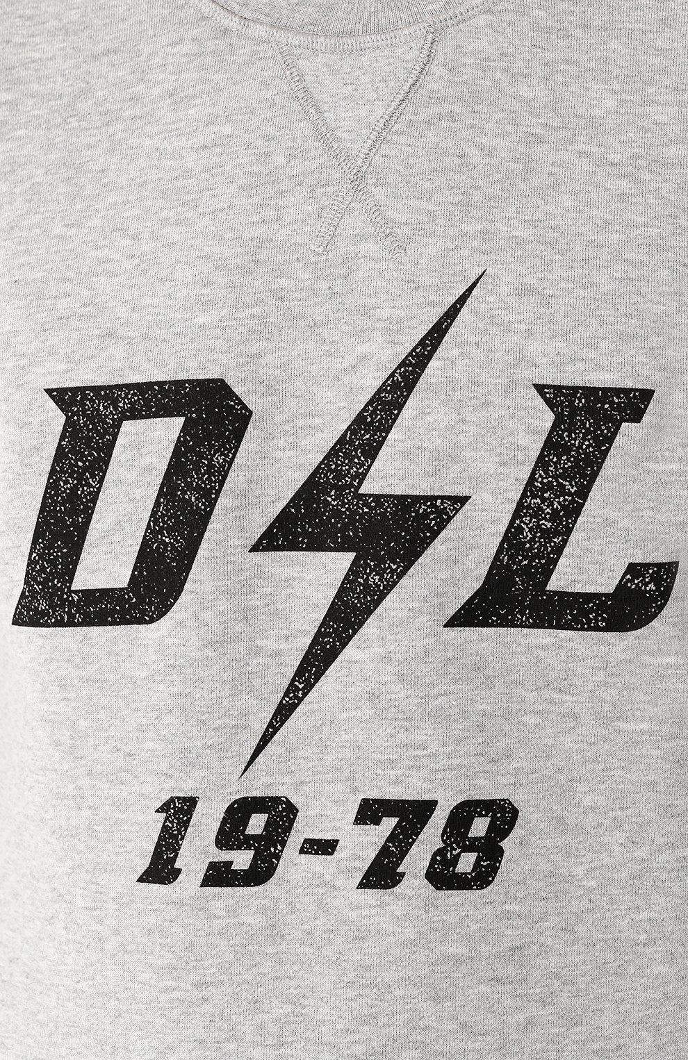 Хлопковый свитшот с шерстяной вставкой Diesel серый | Фото №5