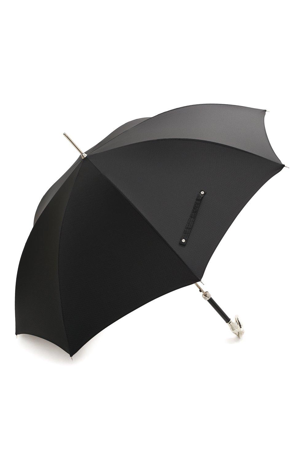 Мужской зонт-трость PASOTTI OMBRELLI черного цвета, арт. 478/NIAGARA 7079/8/W09 | Фото 2 (Материал: Текстиль, Синтетический материал, Металл; Статус проверки: Проверено, Проверена категория)