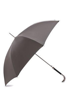 Мужской зонт-трость PASOTTI OMBRELLI серого цвета, арт. 478/RAS0 6768/7/W18   Фото 2 (Статус проверки: Проверено, Проверена категория; Материал: Металл, Текстиль, Синтетический материал)