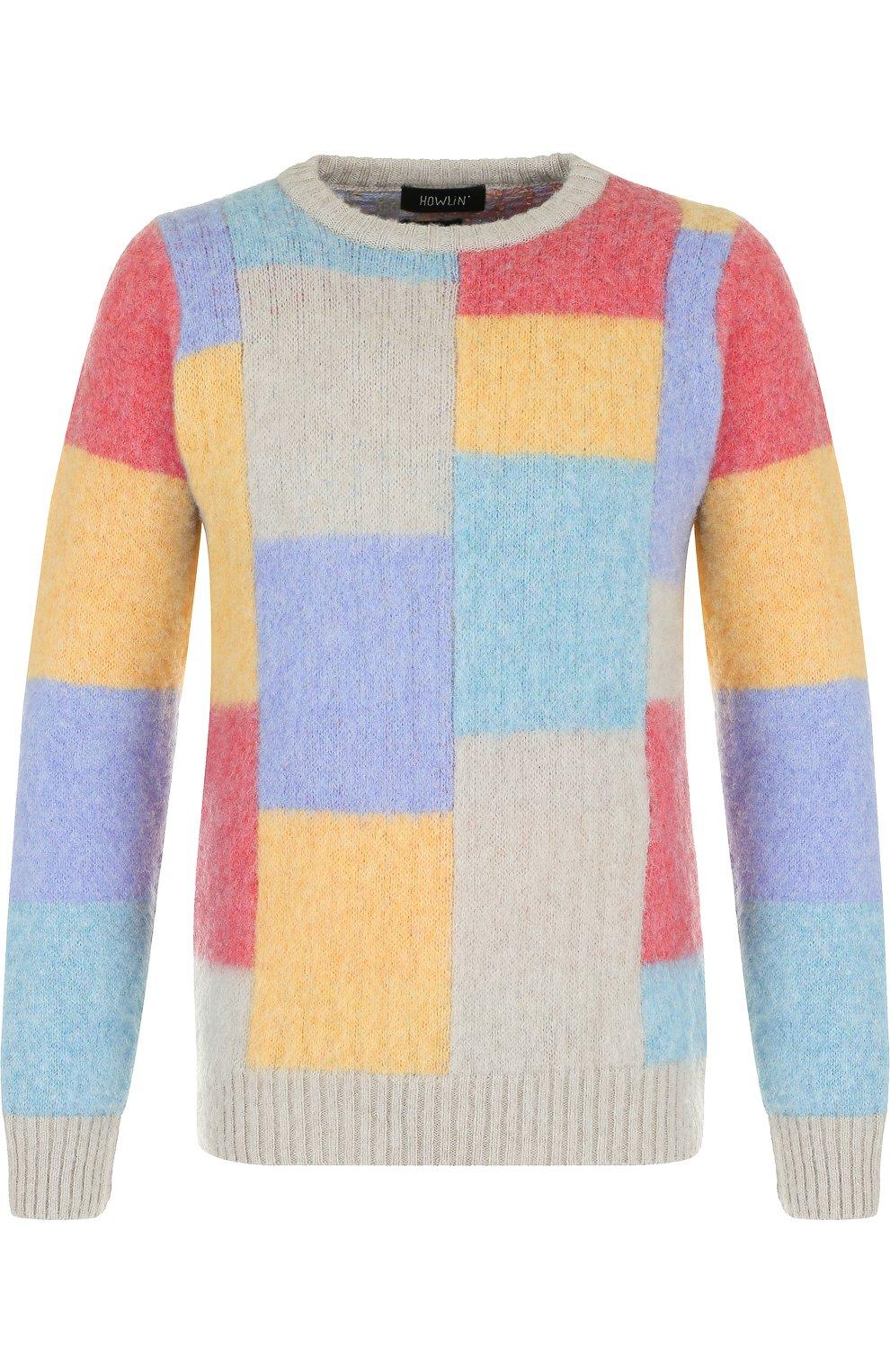 Пуловер из шерсти тонкой вязки с контрастной отделкой   Фото №1