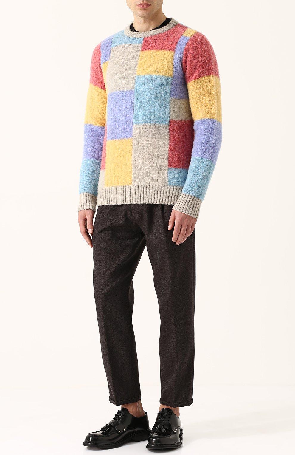 Пуловер из шерсти тонкой вязки с контрастной отделкой   Фото №2